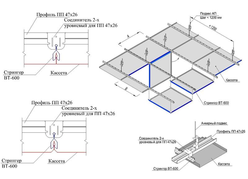 Монтаж кассетных металлических потолков