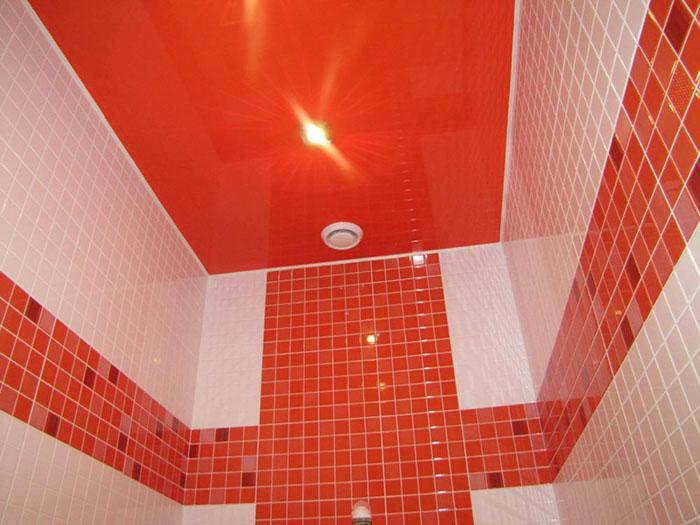 натяжной потолок в ванной фото 2